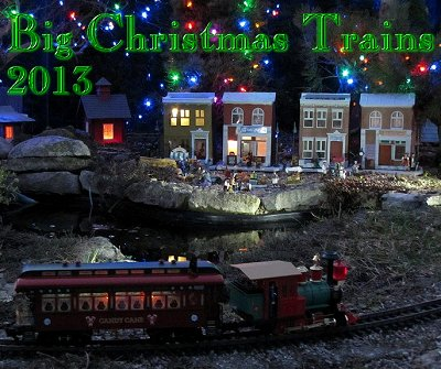 Big Christmas Trains. This photo shows Paul's Large Scale Christmas trains running outside in November, 2012 for a special public event. Click for a bigger photo.