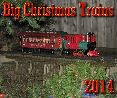 Big Christmas Trains. This photo shows Paul's Large Scale Christmas trains running outside in November, 2012 for a special public event.