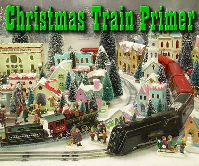 Christmas Train Primer. This photo shows Howard Lamey's Pine Mountain Valley community, served by a ten-year-old On30 train and a sixty-year old Marx tinplate O gauge train. Howard has built every building in the community.  Click for bigger photo.