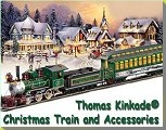 Click to see Thomas Kinkade collectible trains that are just the right size for your Christmas village.