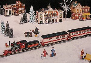 This is a poster Bachmann created to show how well their On30 passenger trains go with collectible village pieces. Click for a bigger picture.